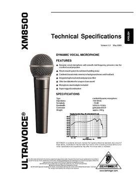 Behringer XM8500 Infoblatt