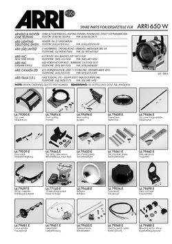 Spare parts ARRI 650