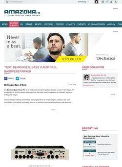 Amazona.de Test: Behringer, Bass V-Amp Pro, Bassverstärker