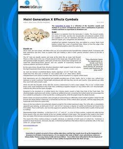 MusicRadar.com Meinl Generation X Effects Cymbals