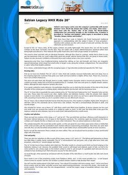 MusicRadar.com Sabian Legacy HHX Ride 20