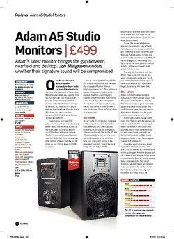 Future Music Adam A5 Studio Monitors
