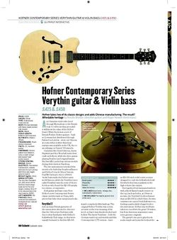 Guitarist Hofner Contemporary Series Verythin Guitar