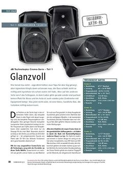 Soundcheck Test: dB Technologies Cromo-Serie (Teil 1) - Glanzvoll