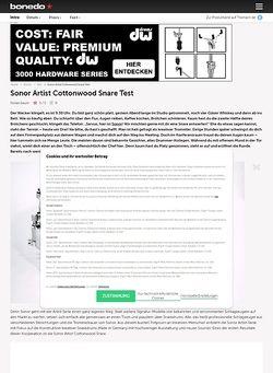 Bonedo.de Sonor Artist Cottonwood Snare