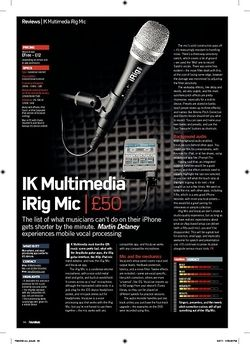 Future Music IK Multimedia iRig Mic