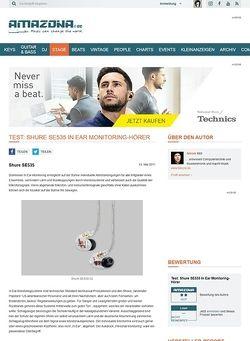 Amazona.de Test: Shure SE535 In Ear Monitoring-Hörer