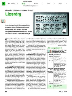 KEYS Test: AAS Lounge Lizard 2 E-Piano Emulation