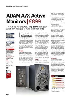 Future Music ADAM A7X Active Monitors