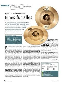 Soundcheck Test Cymbals: Sabian AAX Omni & TKO Messing