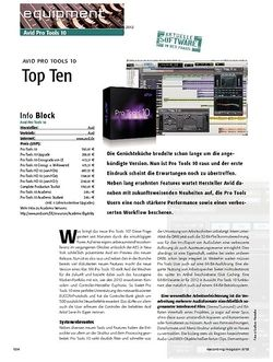 Recording Magazin Avid Pro Tools 10 - Top Ten
