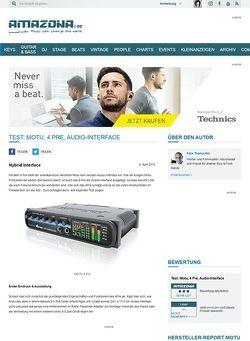 Amazona.de Test: Motu, 4 Pre, Audio-Interface