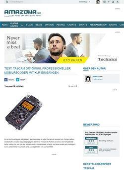 Amazona.de Test: Tascam DR100MKII, Professioneller Mobilrecoder mit XLR-Eingängen