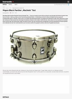 "Bonedo.de Mapex Black Panther Snare ""Machete"""