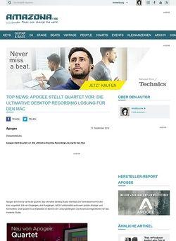Amazona.de Top News: Apogee stellt Quartet vor: Die ultimative Desktop Recording Lösung für den Mac