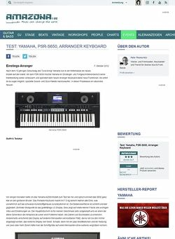 Amazona.de Test: Yamaha, PSR-S650, Arranger Keyboard