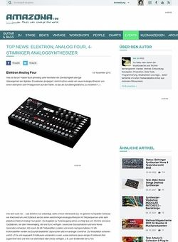 Amazona.de Top News: Elektron, Analog Four, 4-stimmiger Analogsynthesizer