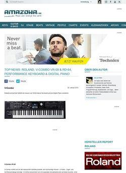 Amazona.de Top News: Roland, V-Combo VR-09 & RD-64, Performance Keyboard & Digital Piano