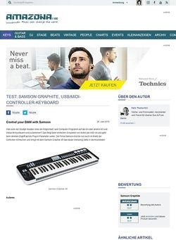Amazona.de Test: Samson Graphite, USB/MIDI-Controller-Keyboard