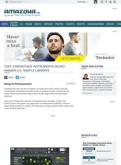 Amazona.de Test: Cinematique Instruments Gecko Kasimir u.a. Sample Librarys