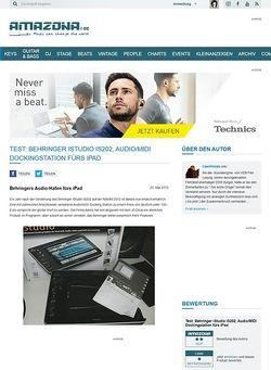 Amazona.de Test: Behringer iStudio IS202, Audio/MIDI Dockingstation fürs iPad