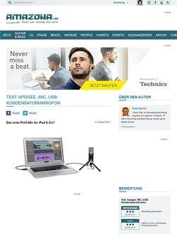 Amazona.de Test: Apogee, MIC, USB-Kondensatormikrofon