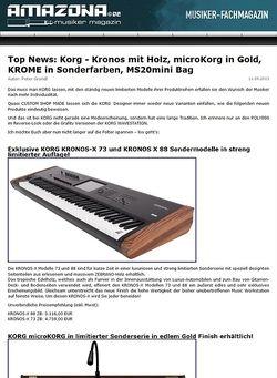 Amazona.de Top News: Korg - Kronos mit Holz, microKorg in Gold, KROME in Sonderfarben, MS20mini Bag