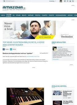 Amazona.de Top News: Elektron Analog Keys, 4-Voice Analogsynthesizer