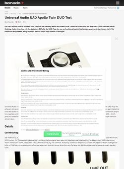 Bonedo.de Universal Audio UAD Apollo Twin DUO Test Preview