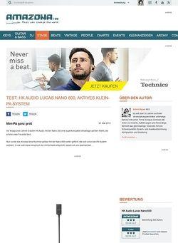 Amazona.de Test: HK Audio Lucas Nano 600, aktives Klein-PA System