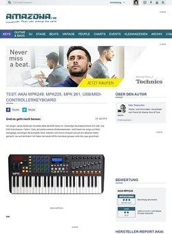 Amazona.de Test: AKAI MPK249, MPK225, MPK 261, USB/MIDI-Controllerkeyboard