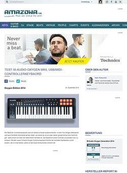 Amazona.de Test: M-Audio Oxygen MK4, USB/MIDI-Controllerkeybaord