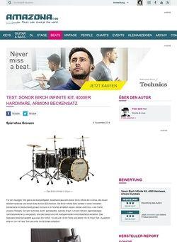 Amazona.de Test: Sonor Birch Infinite Kit, 4000er Hardware, Armoni Beckensatz