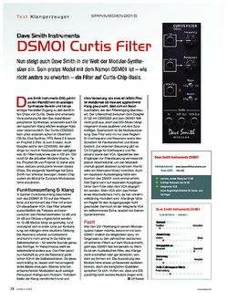 KEYS Dave Smith Instruments DSM01 Curtis Filter