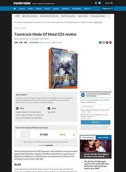 MusicRadar.com Toontrack Made Of Metal EZX