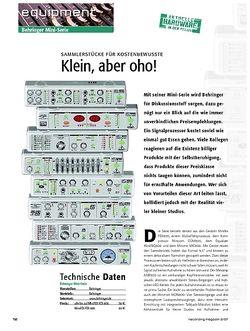 Recording Magazin Klein, aber oho! Behringer Mini-Serie