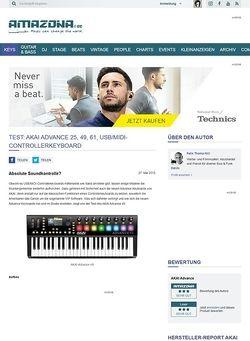 Amazona.de Test: Akai Advance 25, 49, 61, USB/MIDI-Controllerkeyboard