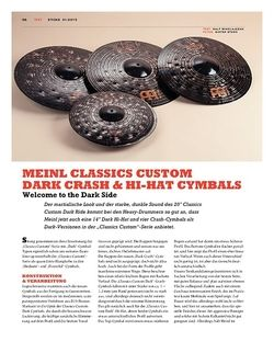 Sticks Meinl Classics Custom Dark Crash & Hi-Hat Cymbals