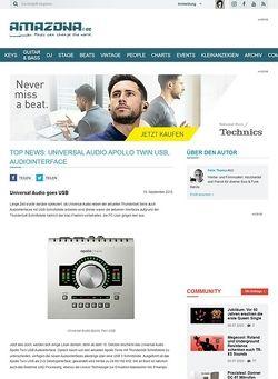 Amazona.de Top News: Universal Audio Apollo Twin USB, Audiointerface