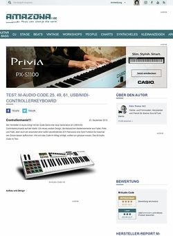 Amazona.de Test: M-Audio Code 25, 49, 61, USB/MIDI-Controllerkeyboard