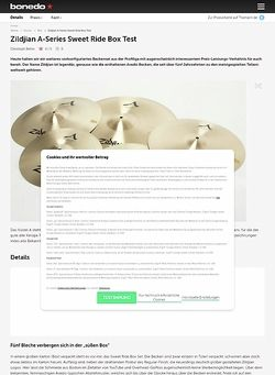Bonedo.de Zildjian A-Series Sweet Ride Box
