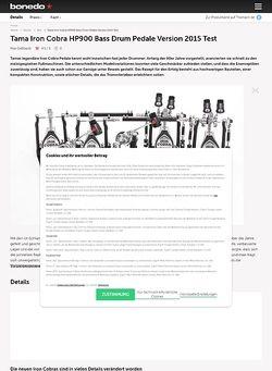 Bonedo.de Tama Iron Cobra HP900 Bass Drum Pedale Version 2015