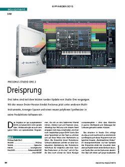 Recording Magazin Presonus Studio One 3