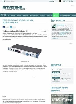 Amazona.de Test: Presonus Studio 192, USB-Audiointerface