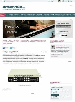 Amazona.de Test: Yamaha THR 100H Dual, Verstärker für E-Gitarre