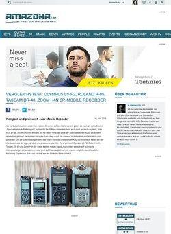 Amazona.de Vergleichstest: Olympus LS-P2, Roland R-05, Tascam DR-40, Zoom H4n SP, Mobile Recorder