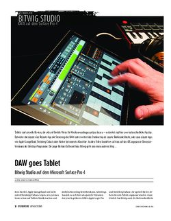 Sound & Recording Bitwig Studio auf dem Microsoft Surface Pro 4