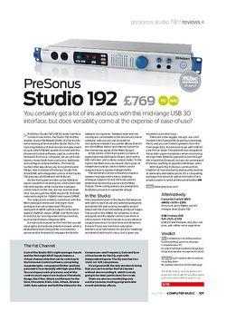 Computer Music PreSonus Studio 192