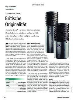 Recording Magazin Aston Origin & Spirit