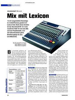 Tastenwelt Test: Soundcraft FX 16 II - Mix mit Lexicon